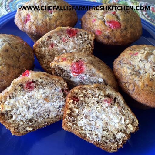 Cherry Pecan Banana Muffins