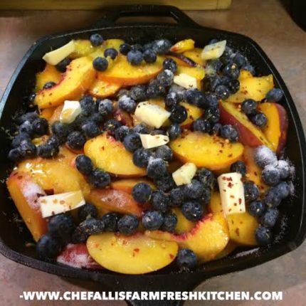 Peach and Blueberry Skillet Cobber