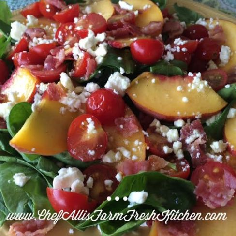 Peach and Tomato Salad with Goat Cheese and Crispy Bacon