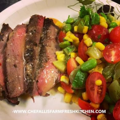 Marinated Sirloin with Edamame and Corn Packets