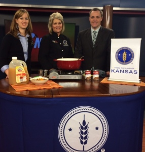 Stacy Mayo, From the Land of Kansas Director, with Chef Alli and Chris Fisher on WIBW 13 News This Morning, October, 2014.
