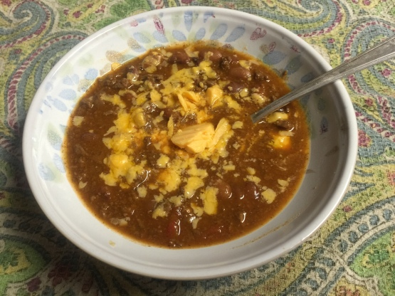 Chili Made with Ground Wild Game