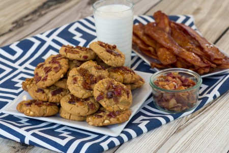 Bacon Peanut Butter Cookies with Milk