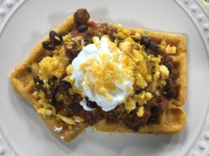 Chili and Cornbread Waffles