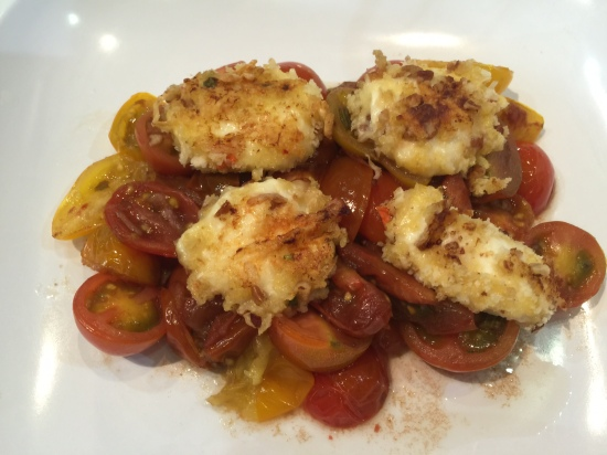 Heirloom Tomato Salad with Pecan-crusted Mozzerella